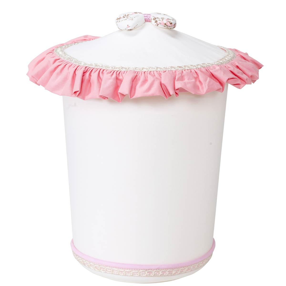 Lixeira Enfeitada para Quarto de Bebê Coleção Realeza Rosa