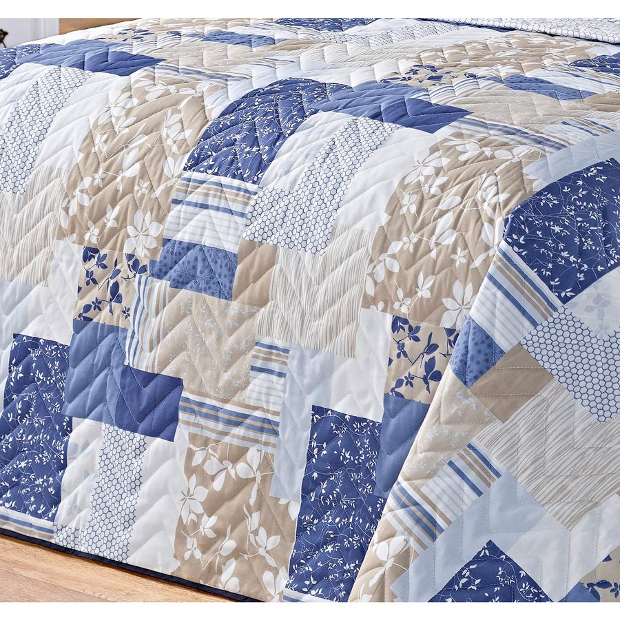 Cobre Leito Casal Queen Siena DF 03 Peças Tecido Misto Estampado - Azul Patchwork