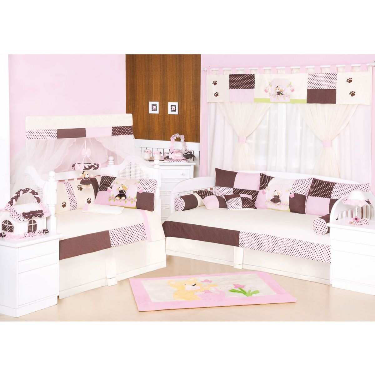 Móbile para Berço de Bebê Coleção Ursa Florista - Rosa