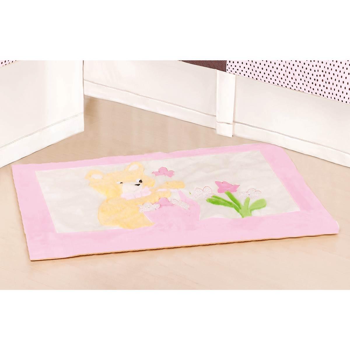 Tapete para Quarto de Bebê de Pelúcia Coleção Ursa Florista - Rosa