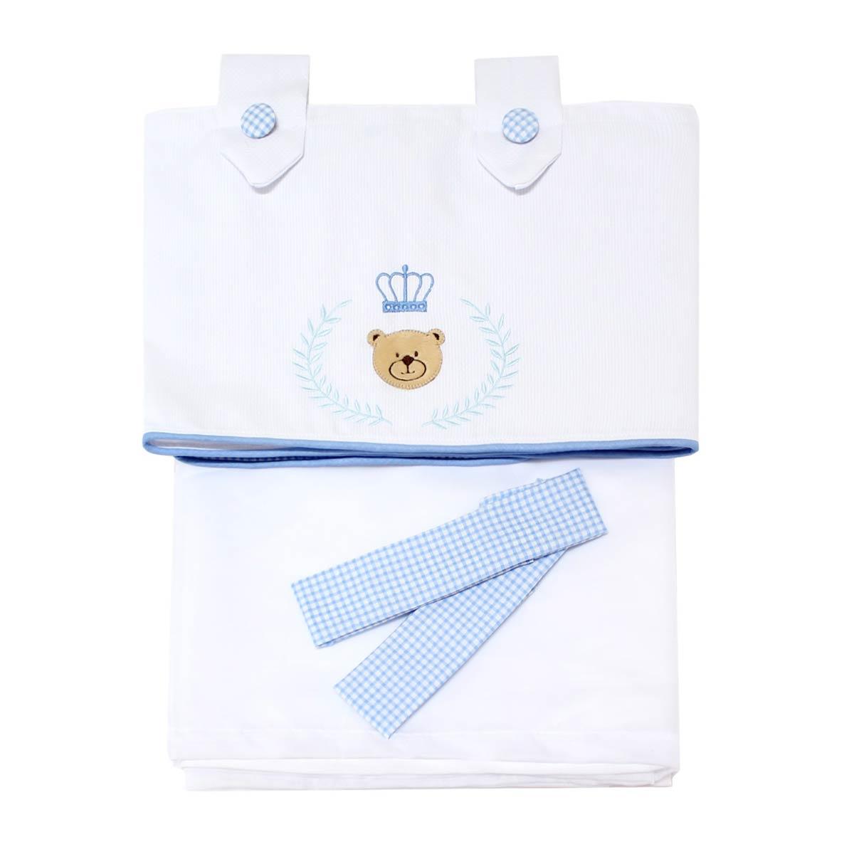 Cortina p/ Quarto de Bebê 2 Metros - Coleção Urso Majestade - Azul