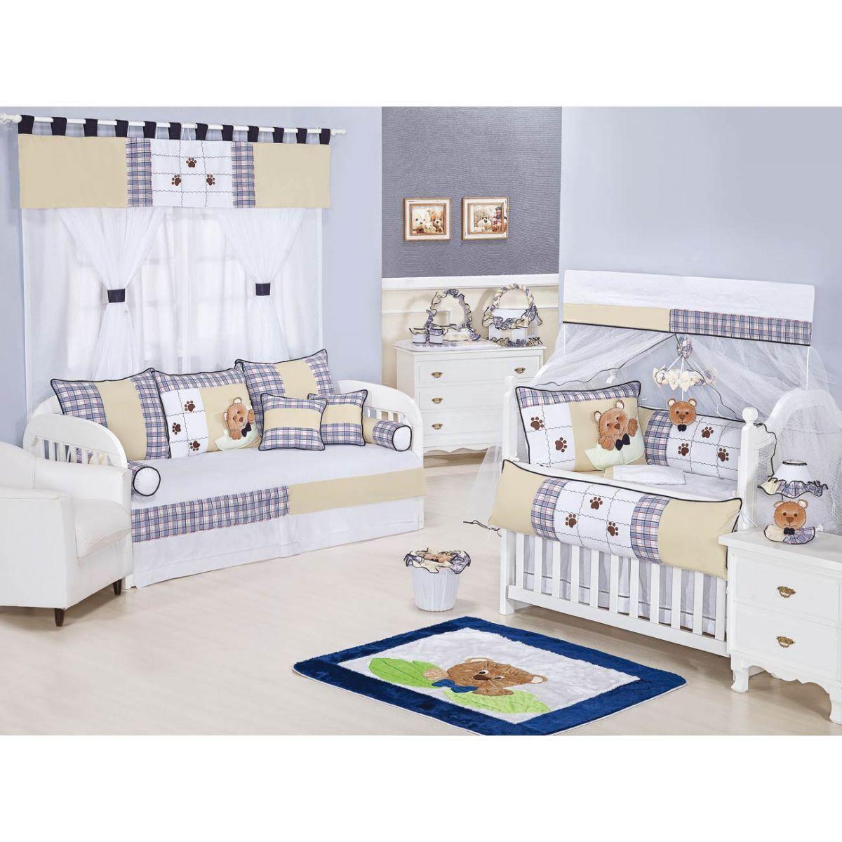 Lixeira Enfeitada para Quarto Bebê Coleção Urso Nino - Azul