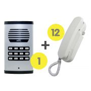 KIT Porteiro Eletrônico Coletivo 12 Pontos c/ 12 Interfones