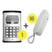 Kit Porteiro Eletrônico Coletivo 16 Pontos com 16 Interfones