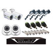 Kit DVR 4 Canais/ 2 Câmeras Dome/ 2 Câmeras Infra