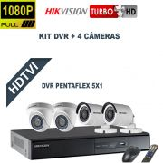 Kit DVR  4 Canais + 4 Câmeras Turbo Full HD-TVI 1080P Pentaflex  Hikvision
