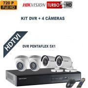 Kit DVR  4 Canais + 4 Câmeras Turbo Full HDTVI 720P Pentaflex  Hikvision