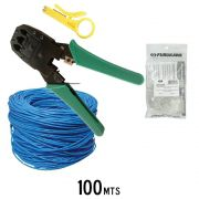 Kit Cabo de Rede 100 Mts Furukawa Cat5e + Alicate De Crimpar + Decapador + 10 RJ45