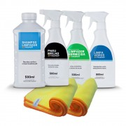 Kit Shampoo. Pneu Brilho, Limpa Vidros, Flanela e Germicida Finisher