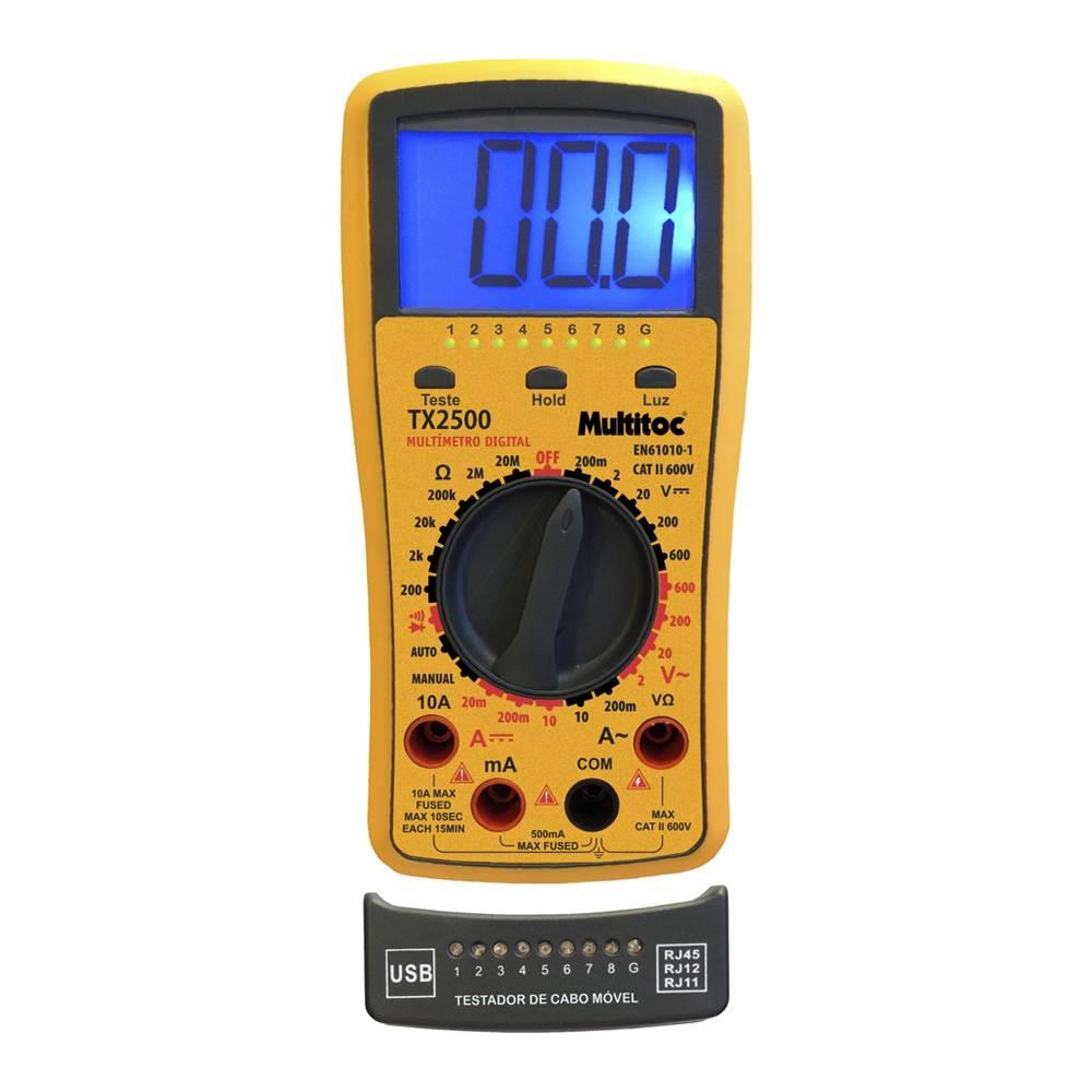 Kit Multímetro Digital e Testador de Cabos Multitoc TX 2500