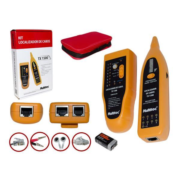 Kit Localizador e Testador de Cabos Multitoc TX-1500 Ponteira Indutiva  Zumbidor + Estojo