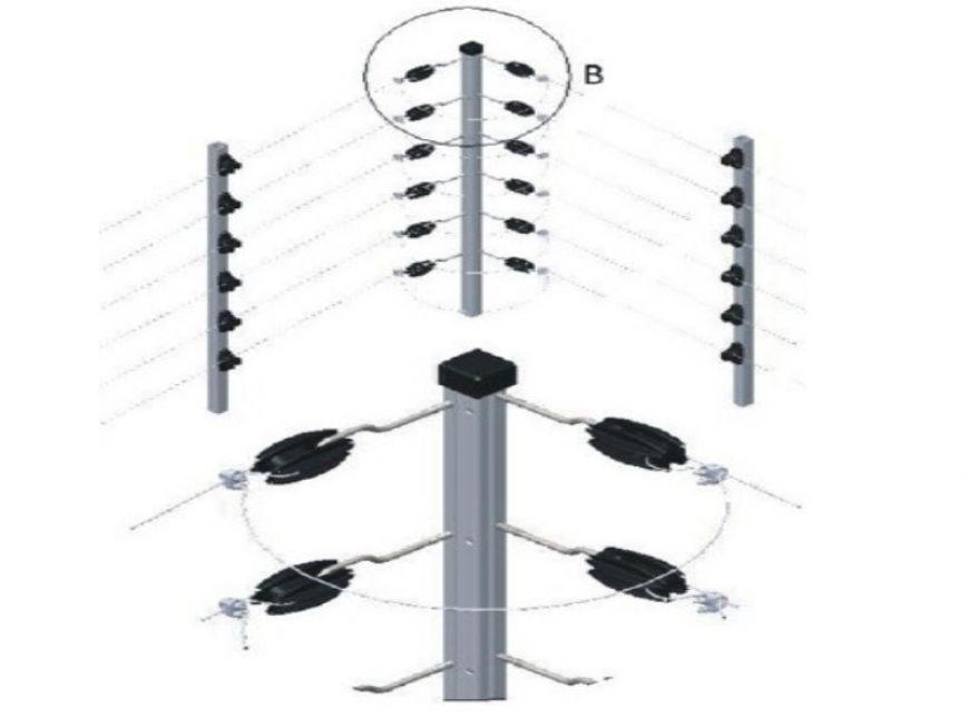 Big Haste de Canto p/ Cerca Elétrica com 12 Castanhas c/ Ganchos - 1 Metro