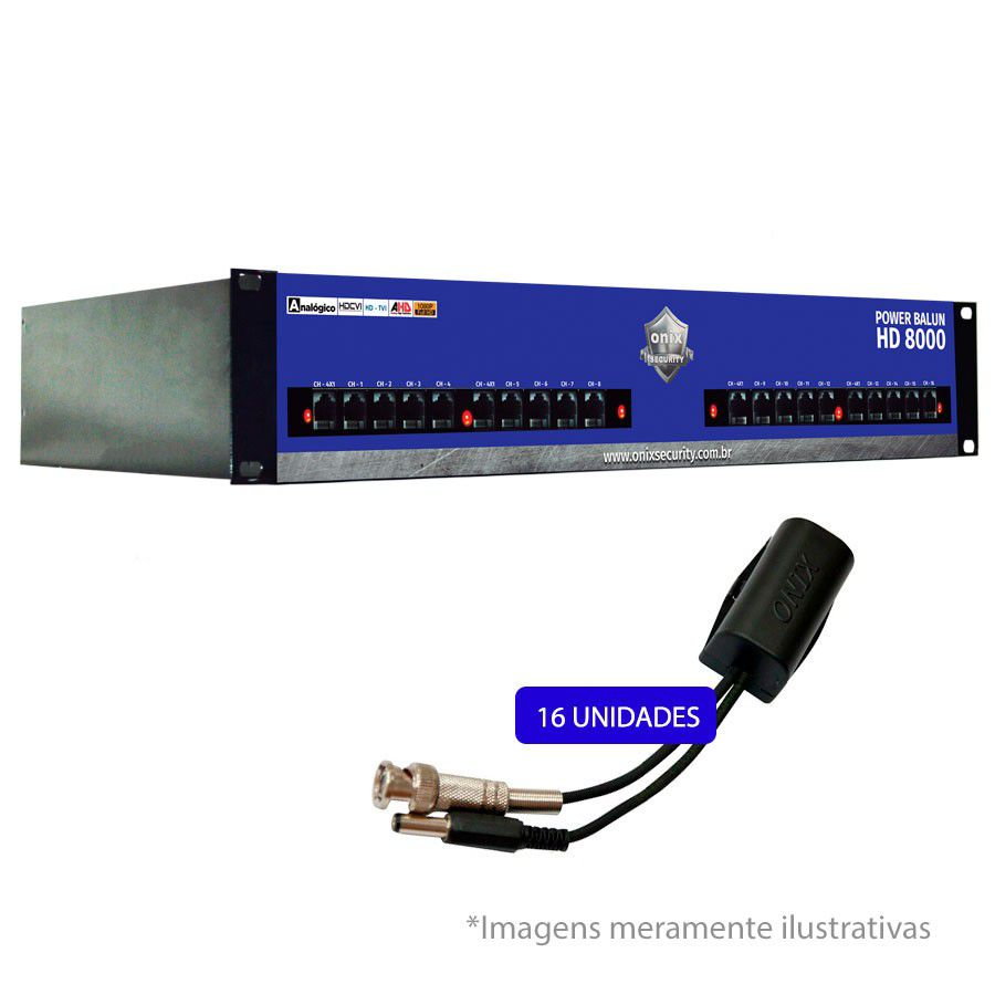 "Rack Orion HD 8000 Power Balun 19"" de 16 Canais – Onix Security"