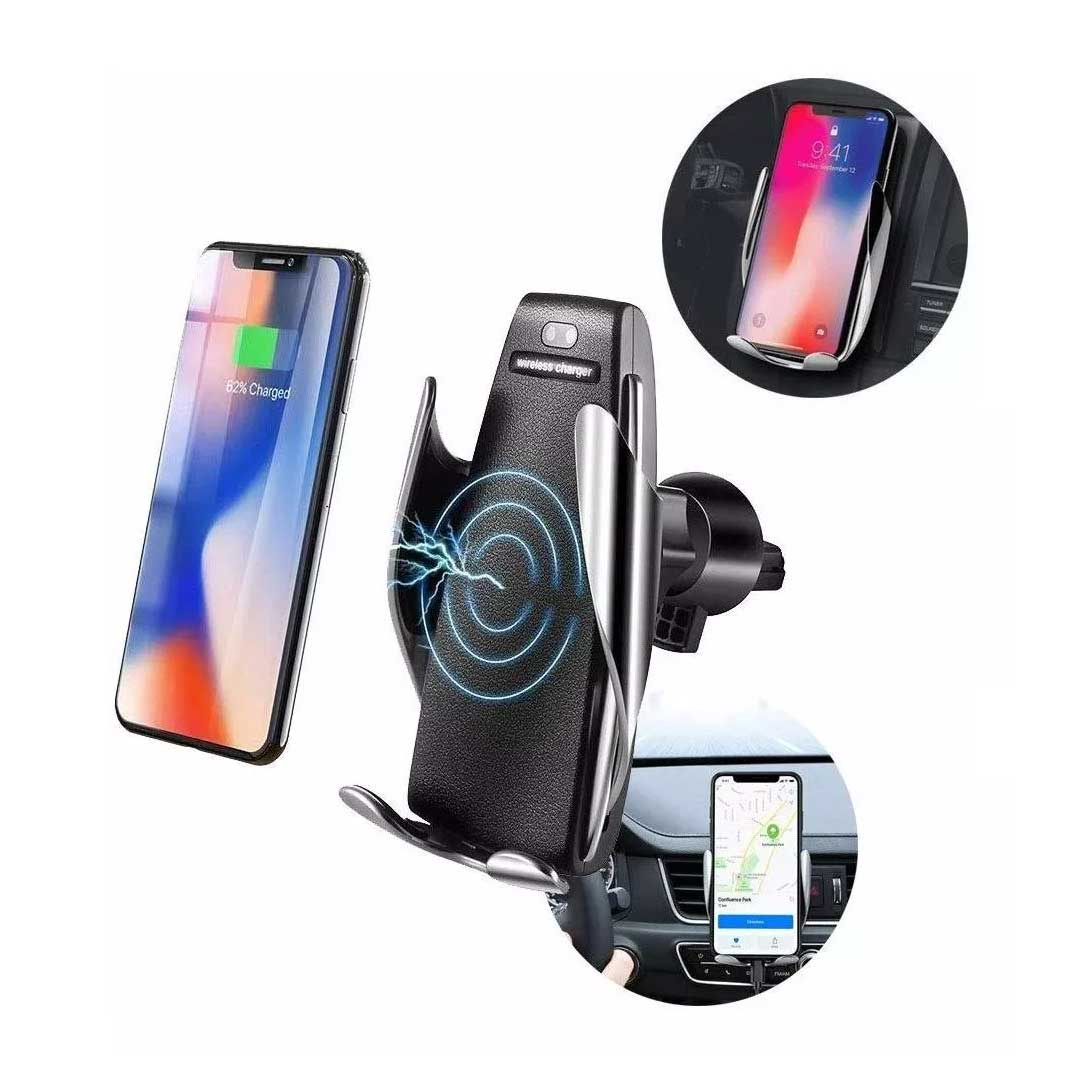 Carregador Veicular Indução Qi Smart Sensor Wireless Charger
