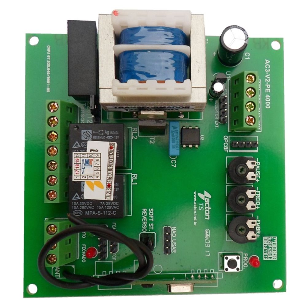 Central Placa Acton Para Motor Portão Peccinin - AC-3 V2 PE 4000