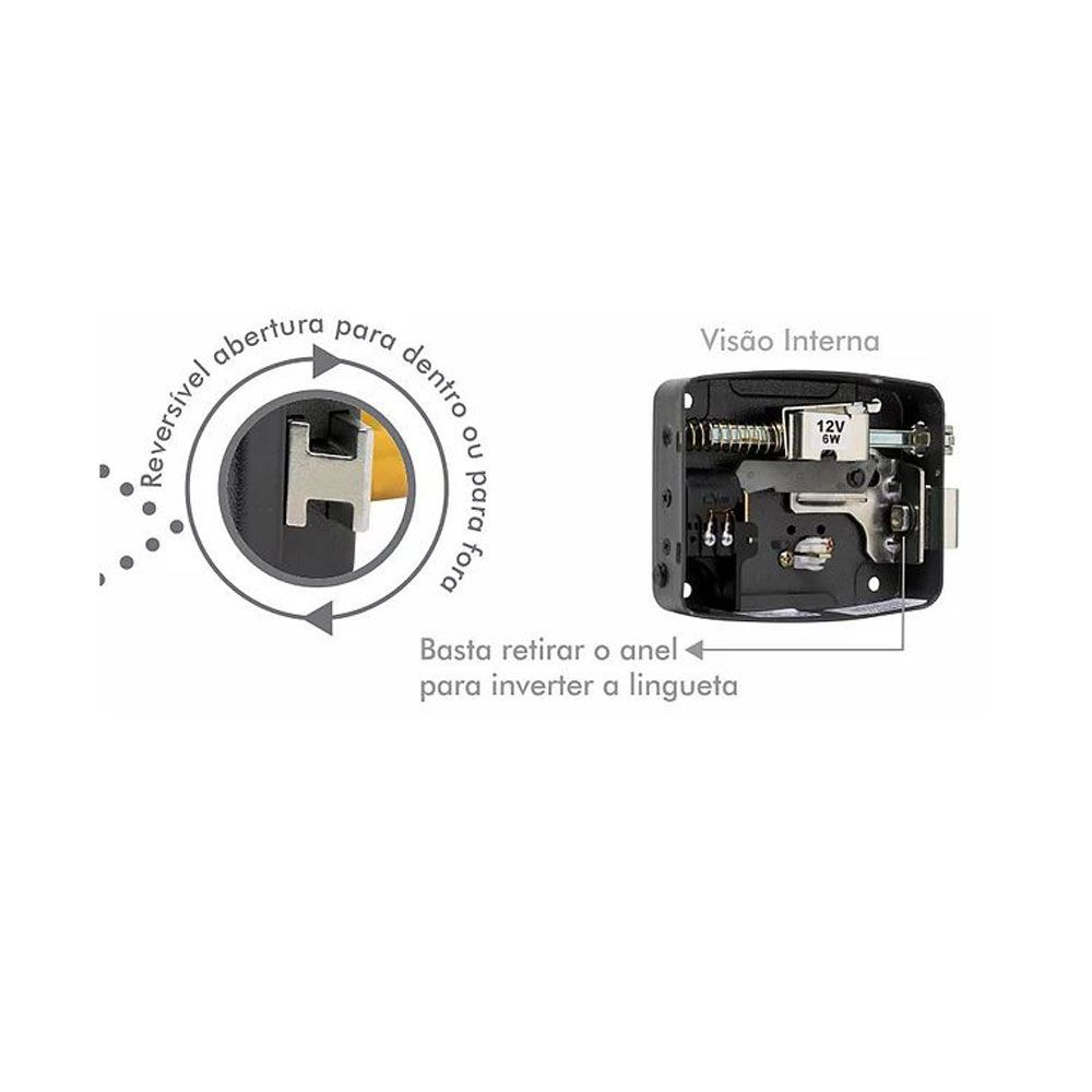 Fechadura Elétrica Para Portão 12V Reversível LR100 - AGL