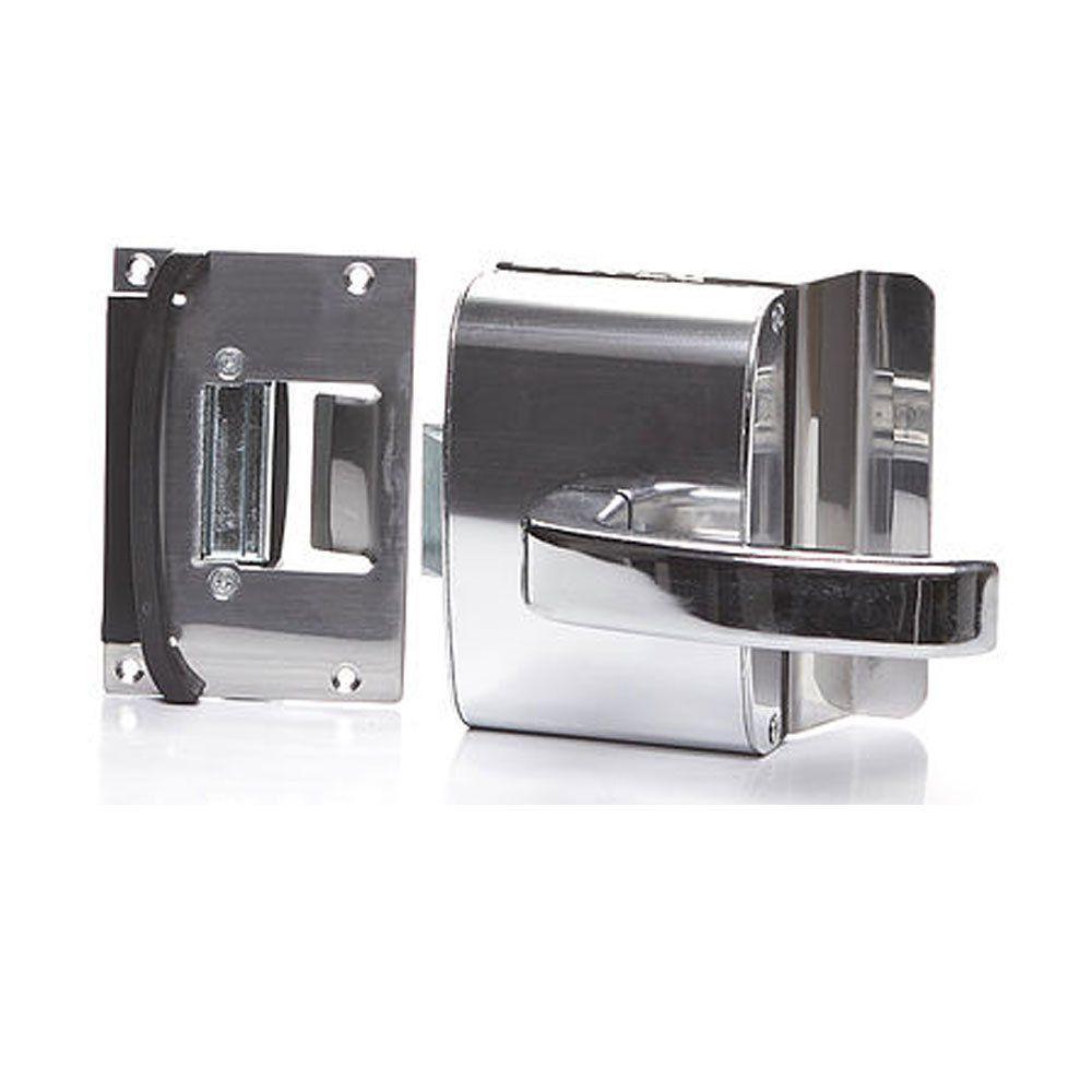 Fechadura para Porta de Vidro com Furos, 1 Folha, Abertura Externa e Batente em Alvenaria PV200F1E - AGL