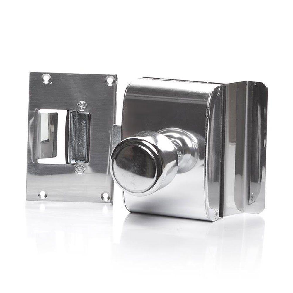 Fechadura para Porta de Vidro com Furos, 1 Folha, Abertura Interna e Batente em Alvenaria PV200F1I - AGL