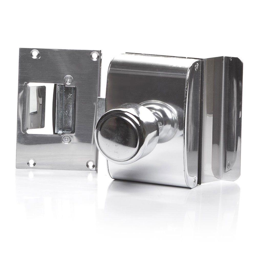 Fechadura para Porta de Vidro com Rasgo, 1 Folha, Abertura Interna e Batente em Alvenaria PV200R1I - AGL