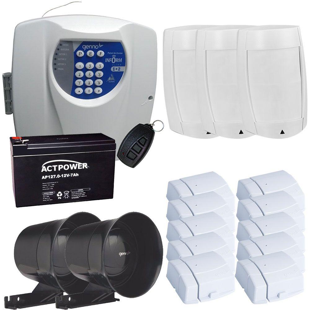 Kit Alarme Residencial e Comercial Sem Fio Genno - 13 Sensores