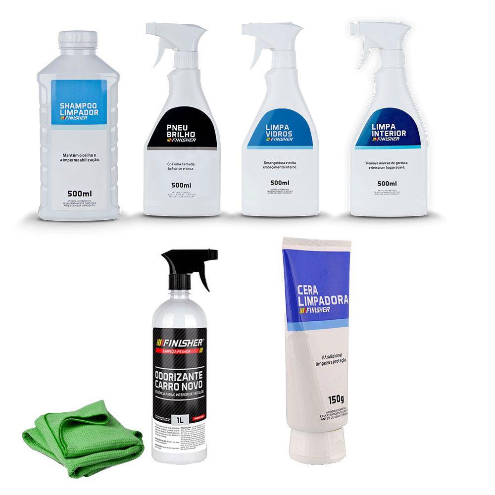 Kit Limpeza Completo Shampoo, Cera, Vidros, Interior