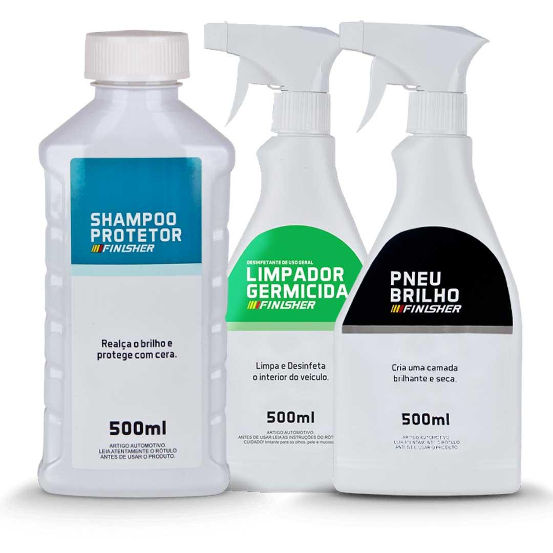 Kit Shampoo + Pneu Brilho + Germicida Finesher