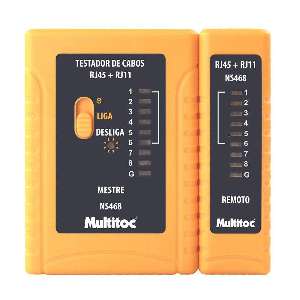 Testador de Cabo de Rede  RJ45 e Telefone  RJ11 -  Multitoc