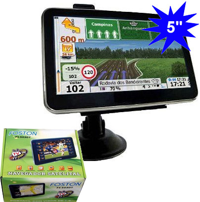 "GPS Foston FS-503DT c/ TV Digital - Tela 5"" - Igo8, Amigo e Primo  - COMPRAS VIA NET"
