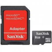 Cartão MicroSD Card com Adaptador SD - SanDisk - 8Gb