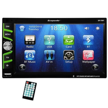 "Central Multimídia Universal Ecopower EP-7001 - 6.5"" - GPS - Bluetooth - USB  - COMPRAS VIA NET"