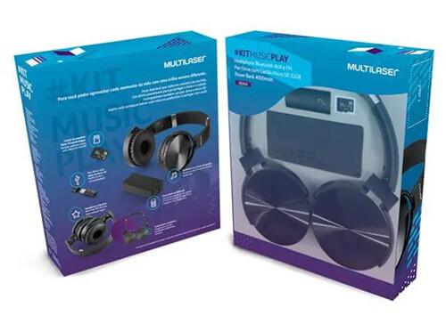 Kit Headphone Bluetooth SD/AUX/FM + Bateria Power Bank 4000 mAh + Leitor USB + Micro SD 32GB C10  - COMPRAS VIA NET
