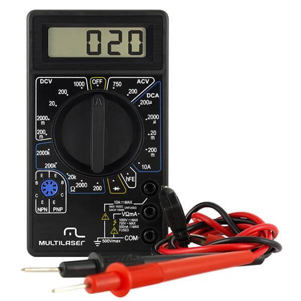 Multímetro Digital Corrente Ac + Dc Tensão 200m~1000v Bateria 9v Preto Multilaser - AU325  - COMPRAS VIA NET