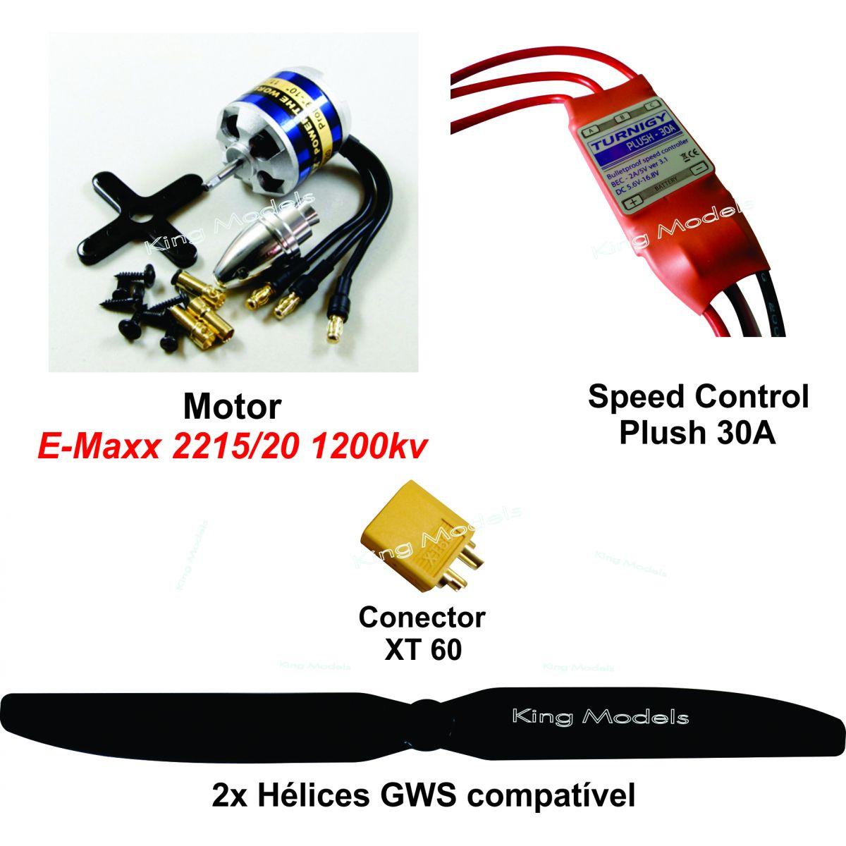 Combo E-max 2215/20-1200Kv Aeromodelos até 900g+Brindes!!  - King Models