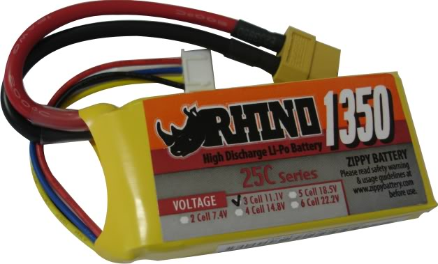 Lipo Zippy/Rhino 3s 11,1v -25/35 - 1350mah  - King Models