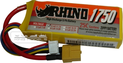 Lipo Zippy/rhino 3s 11,1v -25/35 - 1750mah-aero-auto-revinho  - King Models