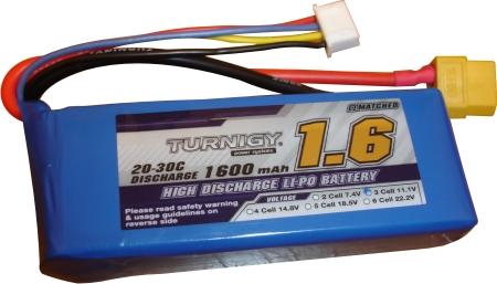 Lipo 3s 11,1v-20/30c 1600mah Turnigy  - King Models
