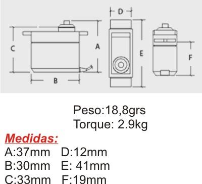 Micro Servo 16grs - Hextronik - Metal Gear - Servo De Força  - King Models