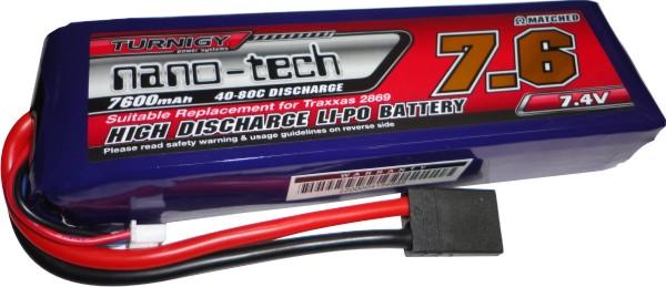 Lipo Nano Tech 2s 7,4v-40/80c - 7600mah - Aero / Auto  - King Models