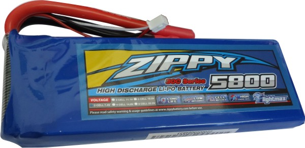 Lipo Zippy - 2s 7,4v-30/40 - 5800mah-aero/auto  - King Models