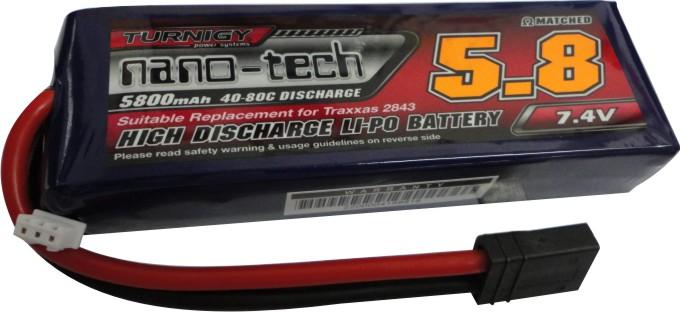 Lipo Nano Tech 2s 7,4v-40/80c - 5800mah - Aero / Auto  - King Models