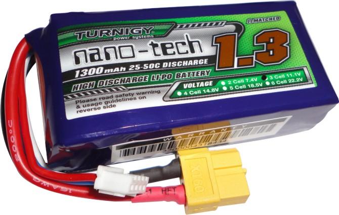 Lipo Turnigy Nano Tech 3s 11,1v -25/50 - 1300Mah  - King Models