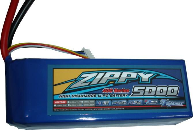 Lipo Zippy/Flightmax 6s 22,2v-40/50 - 5000mah - Aero / Heli Classe 600  - King Models