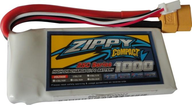 Lipo Zippy Compact -2s 7,4v-25/35c - 1000mah - Confira!!!!  - King Models