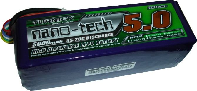 LiPo Turnigy Nano-Tech - 6s 22,2v-35/70 - 5000mah-Aero/Heli  - King Models