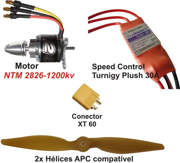 Combo Brushless Prop Drive 2826-1200kv - Aeros Até 850grs  - King Models