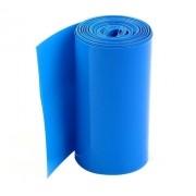 1xmt Tubo Termo Retrátil Azul Pvc 30mm Chato Diam. 19.10mm
