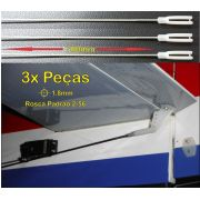 3pçs Arame Aço 1.8mm x 700mm c/ Rosca 2-56 + Clevis Nylon