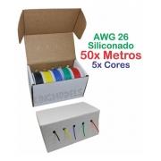 Kit Com 50mts Fio Siliconado Awg 26 - 5xcores -com Dispenser