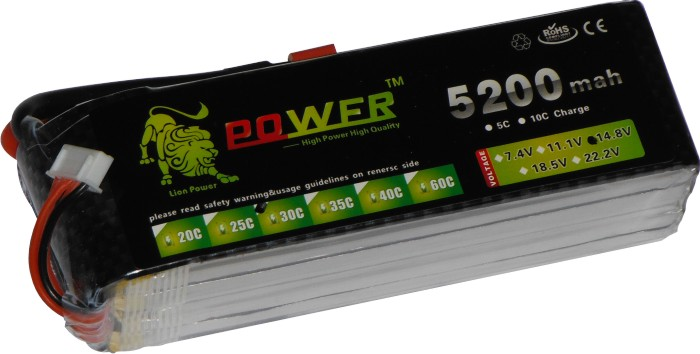 Bateria Lipo Power-4s 14.8v-30/40c - 5200mah-multi-rotores!!  - King Models