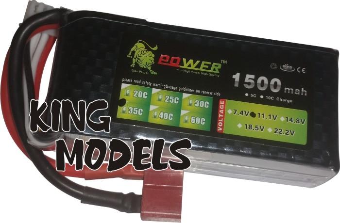 Bateria Lipo Power-3s 11,1v-30c-1500mah-alta Descarga!!!  - King Models